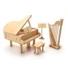 나무조립모형 인형가구 음악실세트